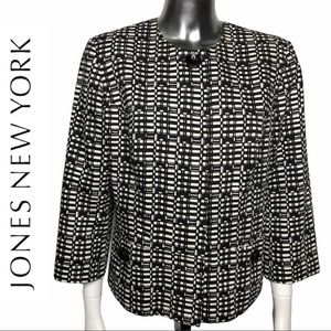 EUC Jones New York Black & Cream Lined Blazer